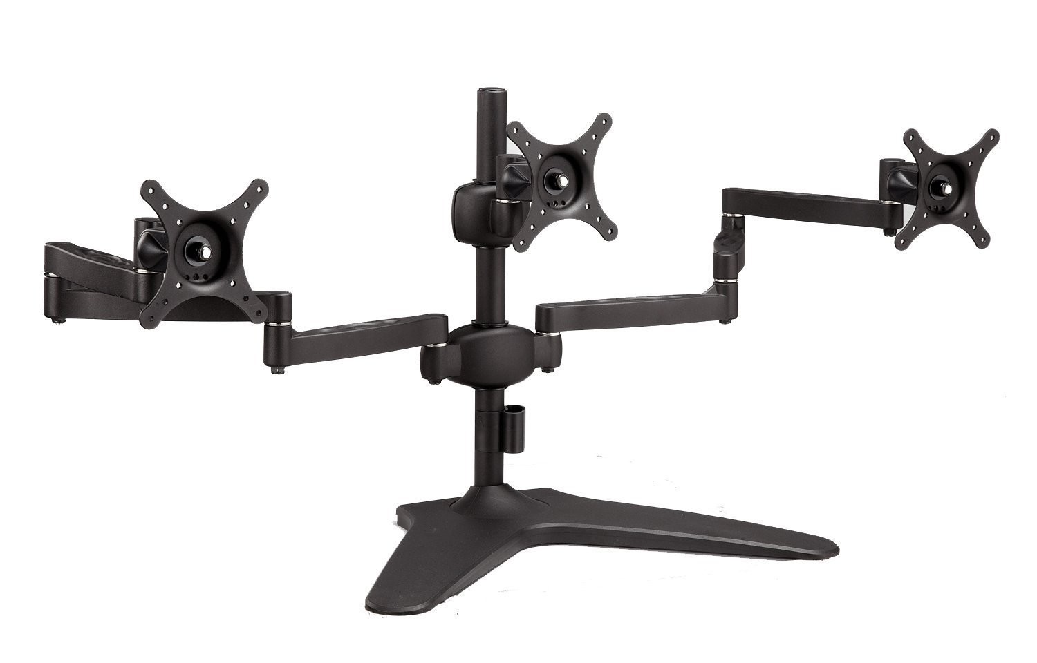 Elitech Aluminum Alloy Triple Monitor Stand Table Desk Mounts for Three LCD Monitors, Free Standing, Fully Adjustable Double Arms