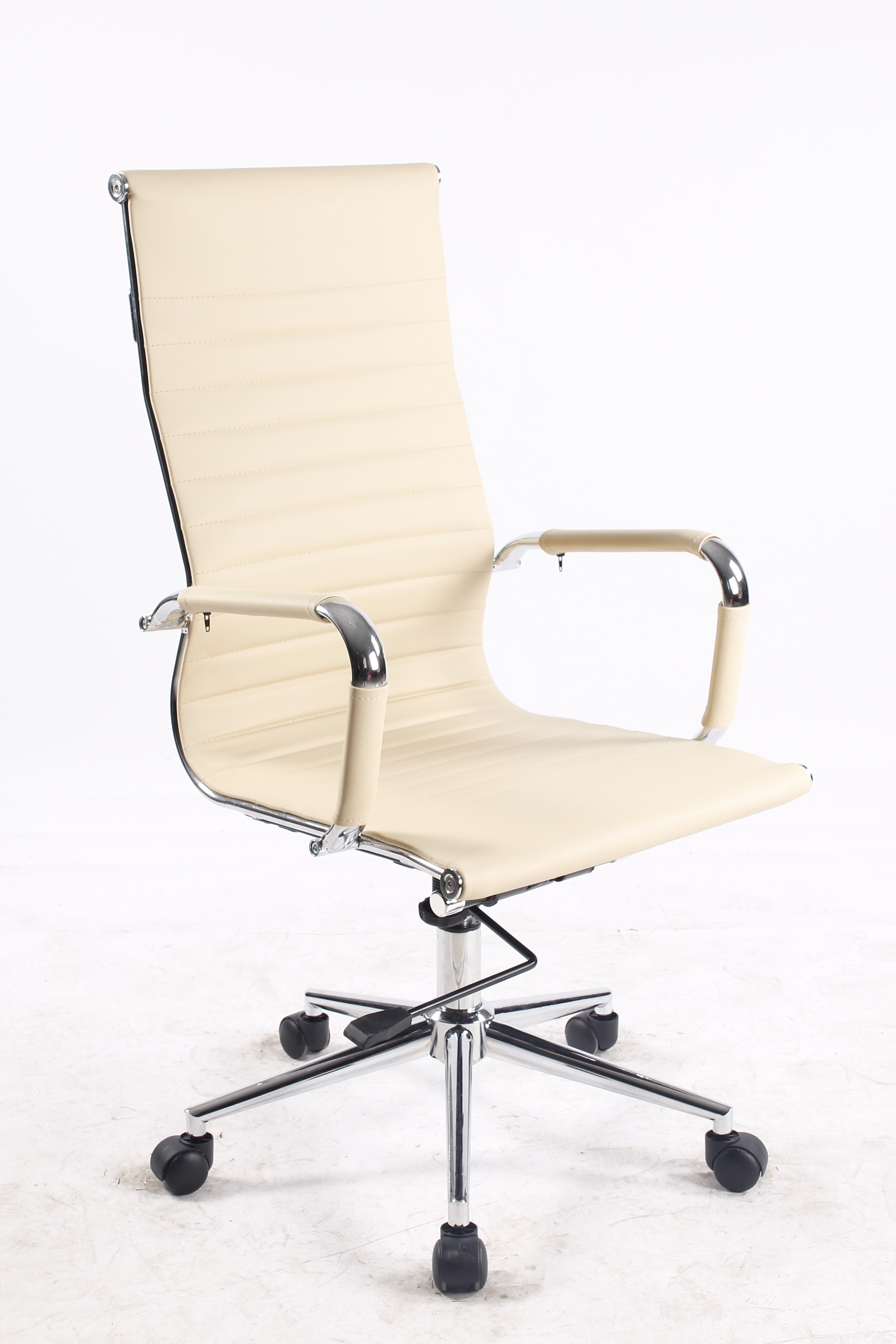 Elitech Modern High Back Ribbed Upholstered Leather Executive Swivel Office Chair With Metal Frame, Tilt and Chrome Base