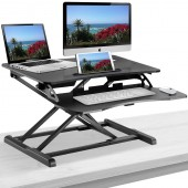 Elitech Adjustable Sit to Stand Desk Gas Spring Riser Converter With keyboard Tray, Ergonomic Tabletop Workstation for Desktop and Laptop Computers. Height Adjustable Standing Desk Converter
