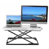 Elitech Ultra Slim Height Adjustable Sit to Stand Desk Riser Workstation, white Surface, Pre-assembled