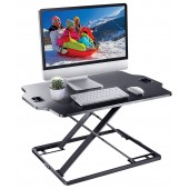 Elitech Ultra Slim Height Adjustable Sit/Stand Desk Riser Workstation, Pre-assembled