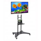 "Tall Elitech Mobile TV Cart for up to 65"" Flat Panel TV with Middle Shelf, Maximum TV Height 70"""