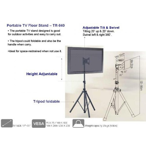 Portable Plasma And Lcd Tv Tripod Stand For Up To 37 Tv