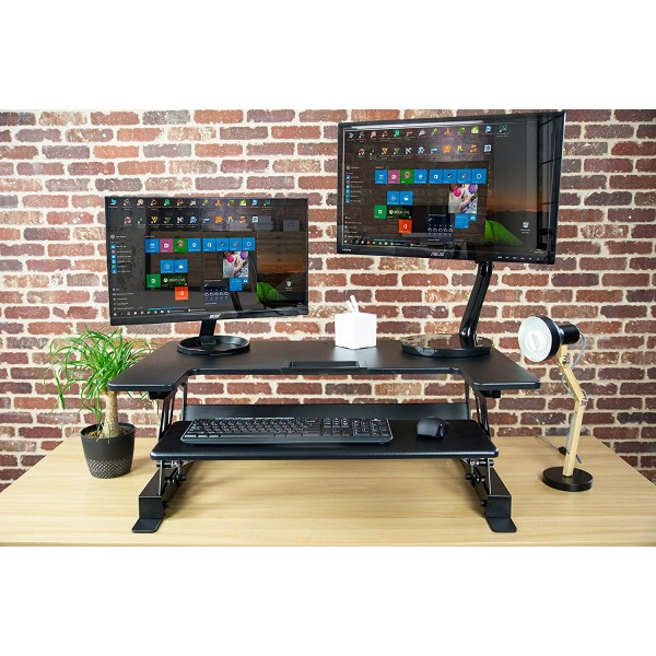 100 Dual Monitor Stand Up Desk Elitech Triple Lcd